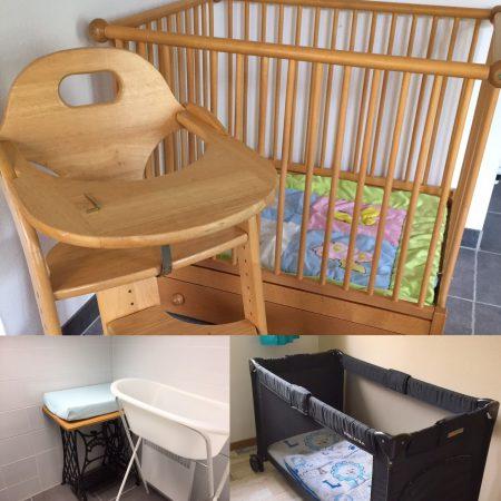 Huur kinderstoel, babybed, box of baby bad op Liabaquet gîtes et camping
